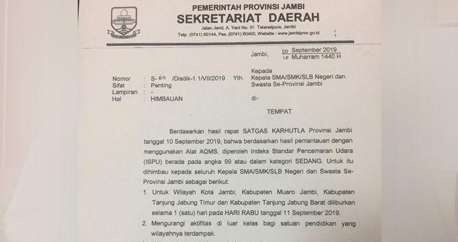 Surat himbauan kepada seluruh kepala SMA/SMK/SLB baik negeri dan swasta di Provinsi Jambi agar meliburkan siswanya hari ini (11/9).