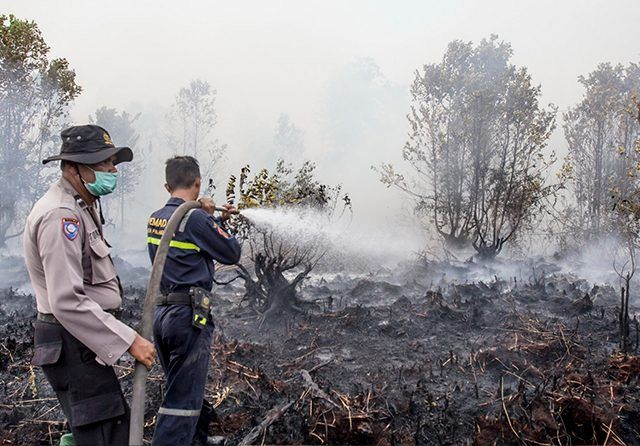 PENGHASIL ASAP: Petugas pemadam kebakaran dibantu polisi berusaha memadamkan api di lahan gambut di Jalan G Obos XIV Ujung, Palangka Raya, beberapa hari lalu.).