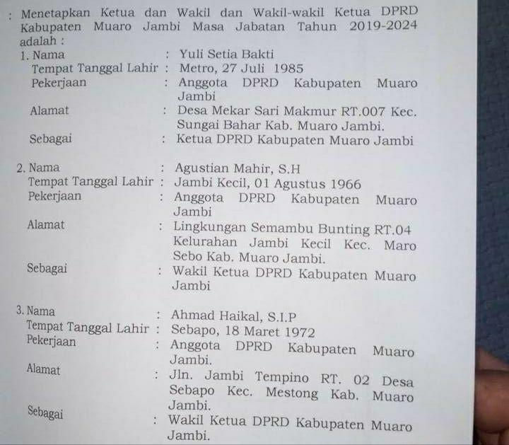 SK Pimpinan Definitif DPRD Muarojambi.