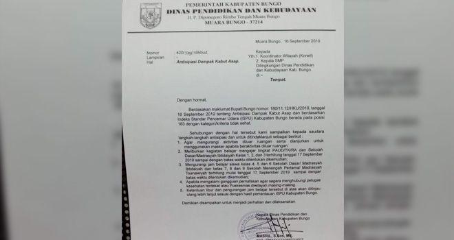 Dinas Pendidikan Kabupaten Bungo meliburkan siswa mulai dari tanggal 17 September hingga waktu yang belum bisa ditentukan.