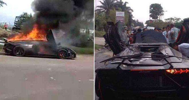 Mobil Lamborghini Raffi Ahmad yang terbakar.