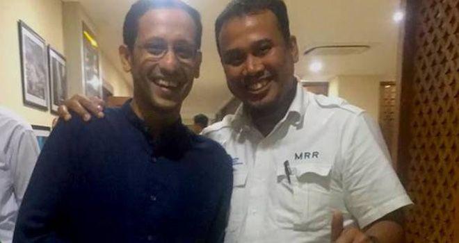Ketua Umum IGI M Ramli Rahim berpose bareng Mendikbud Nadiem Makarim di Jakarta, Senin (4/11).