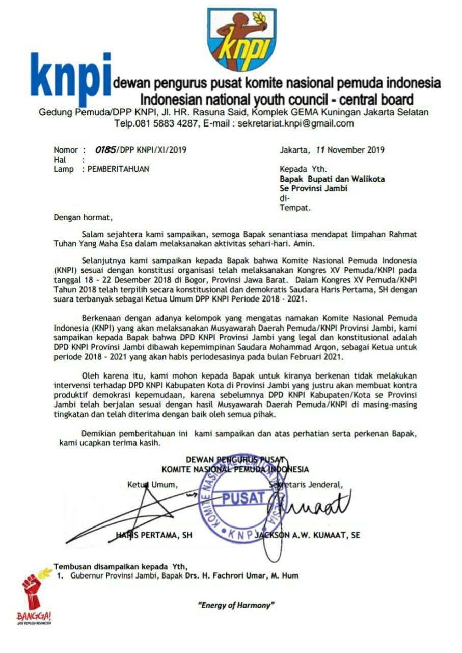 Ketua DPD KNPI Jambi Tegaskan Fikar Azami Masih Ketua KNPI Sungai Penuh.