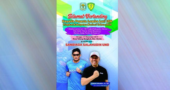 Sandi Uno Hadir di Kerinci Pada Lomba Lari 10 K Persatuan Atletik Seluruh Indonesia (PASI) Kabupaten Kerinci.