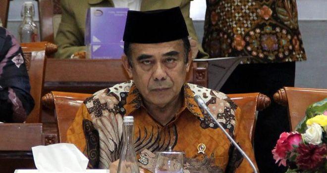 Menteri agama, Fachrul Razi rapat kerja dengan Komisi VIII DPR RI di Gedung Parlemen, Senayan Jakarta, Kamis (7/11/2019).