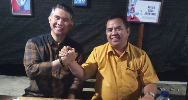 Walikota Jambi, Sy Fasha salam komando bersama M. Yusp, Ketua DPD Hanura Provinsi Jambi.