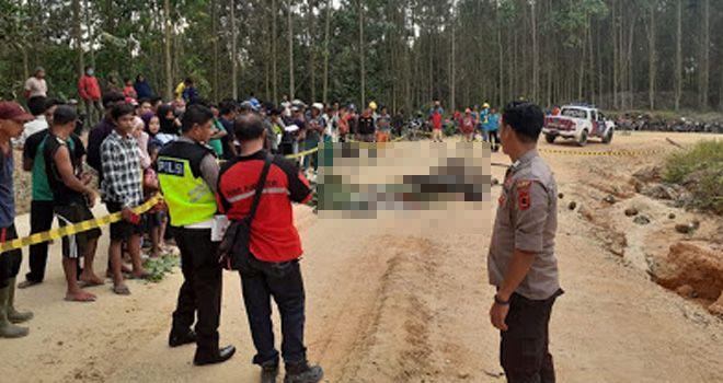 Pedagang duren tewas bersimbah darah setelah tubuhnya hancur usai dilindas truk tronton.