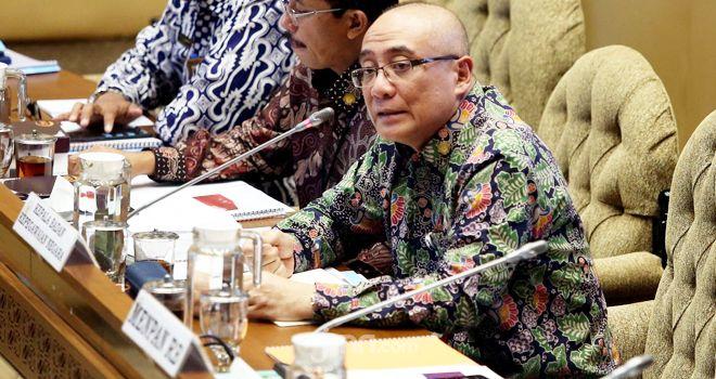 Kepala BKN Bima Haria Wibisana saat Raker dengan Komisi II DPR di Senayan, Senin (20/1).