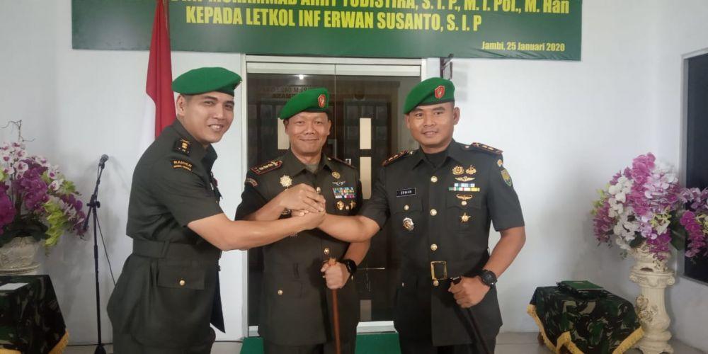 Serah terima Jabatan dari Letnan kolonel Inf Muhammad Ari Yudistira di Makorem 042 Garuda Putih.