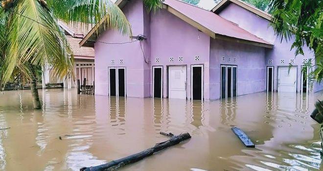 Puluhan rumah di Tebo terendam banjir, bahkan di beberapa kecamatan kondisi banjir belum nampak akan surut.