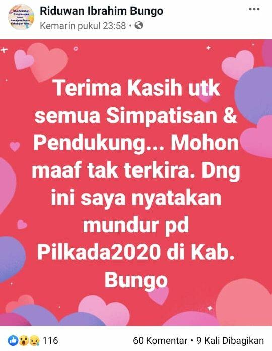 Status di Medsos, Riduwan Ibrahim Nyatakan Mundur di Pilbup Bungo.
