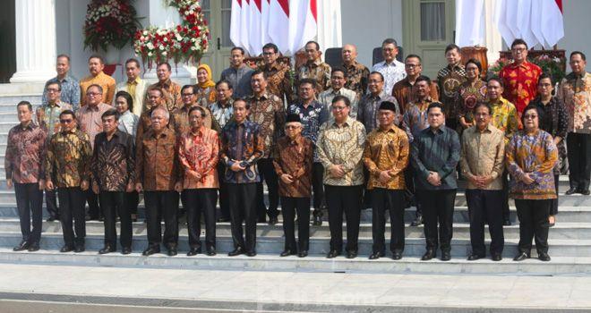 Presiden Joko Widodo dan Wapres Ma'ruf Amin bersama Kabinet Indonesia Maju 2019-2024.