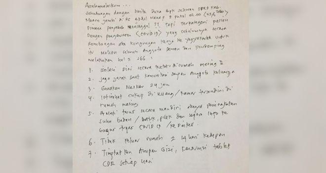 Himbauan kepada seluruh Anggota DPRD Muaro Jambi.