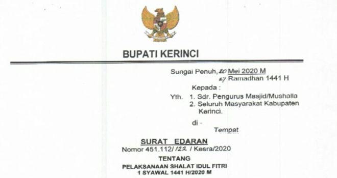Screenshot, Surat Edaran tentang Pelaksanaan Shalat Idul Fitri 1441H/2020M dalam situasi wabah Covid-19.