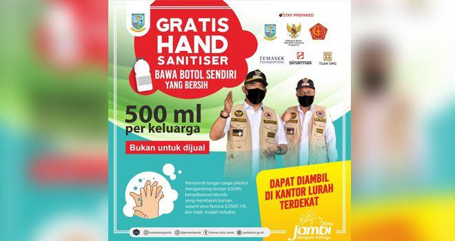 Siapkan Botol Bersih, Pemkot Jambi Akan Bagikan Hand Sanitiser Gratis.