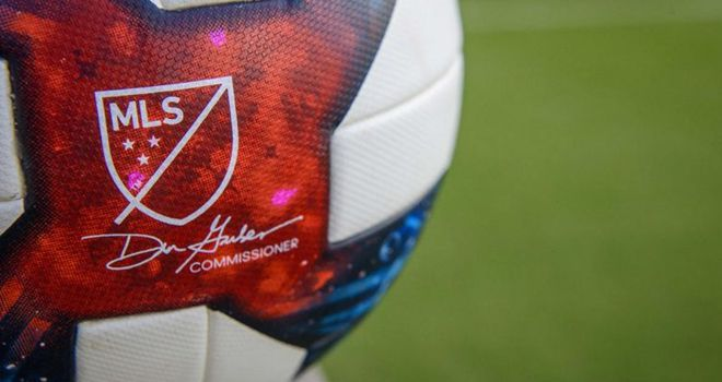 Jul 4, 2019; Frisco, TX, USA; A view of the game ball and MLS logo before the game between FC Dallas and the D.C. United at Toyota Stadium. Mandatory Credit: Jerome Miron-