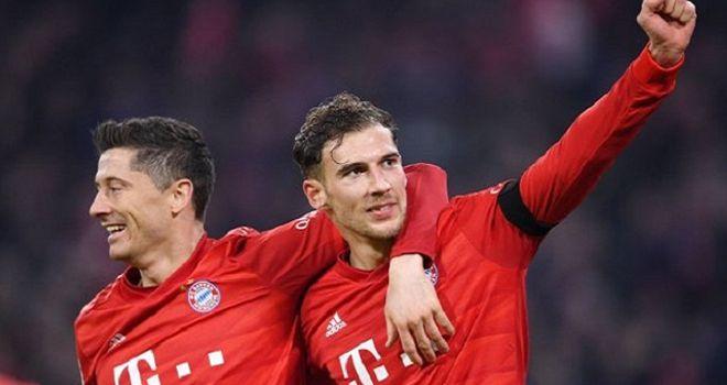 Pemain Bayern Muenchen, Robert Lewandowski dan Leon Goretzka.