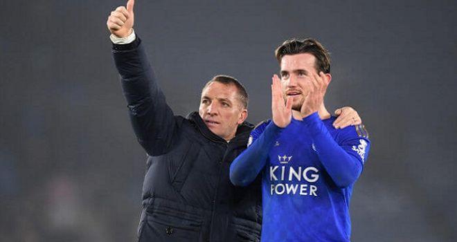 Manager Leicester, Brendan Rogers dan salah satu pemain andalannya, Ben Chilwell.