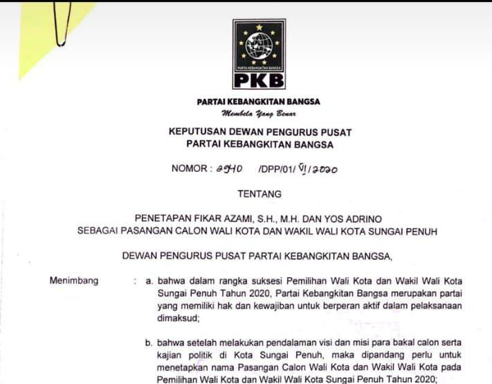Tangkapan layar surat dukungan PKB untuk pasangan Fikar Azami-Yos Adrino di Pilwako Sungai Penuh.