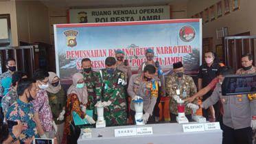 Polresta Jambi musnahkan puluhan kg narkoba hasil tangkapan