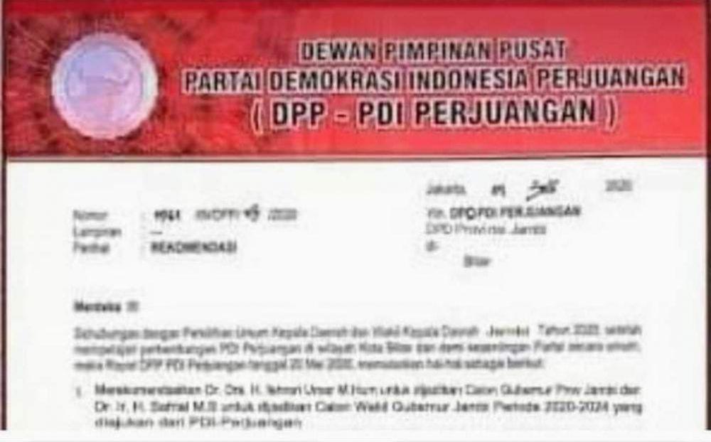 Beredar Foto Surat Rekomendasi PDIP untuk FU-Safrial di Pilgub Jambi.
