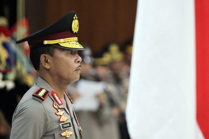 Kapolri Jenderal Polisi Idham Azis saat memimpin Serah Terima Jabatan Pejabat Tinggi Polri dan Kapolda, di gedung Bareskrim, Mabes Polri Jakarta, Selasa (7/1/2020).