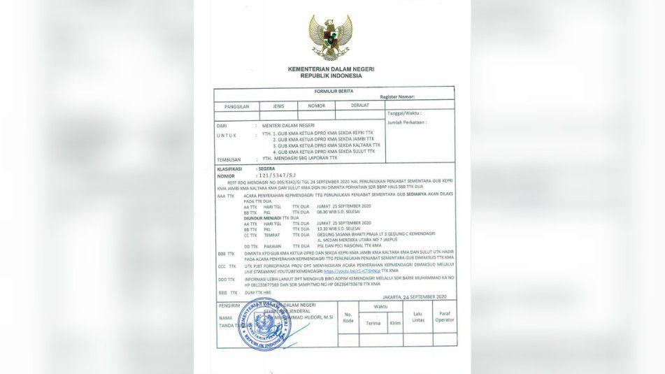 Pengukuhan Pjs Gubernur Jambi Diundur Siang Ini.