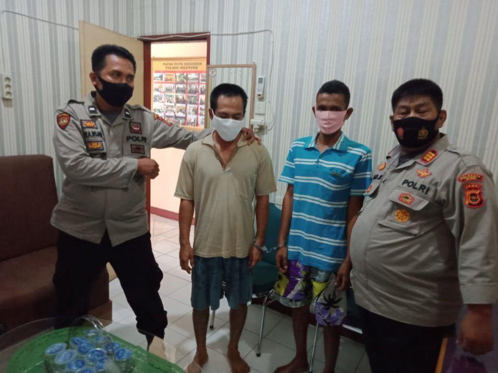 Dua pelaku pencurian bengkel di kawasan Kebun Handil, Kecamatan Jelutung diamankan oleh anggota Polsek Jelutung.