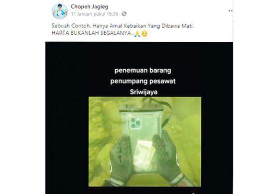 Hoax Penemuan iPhone Milik Penumpang Sriwijaya Air