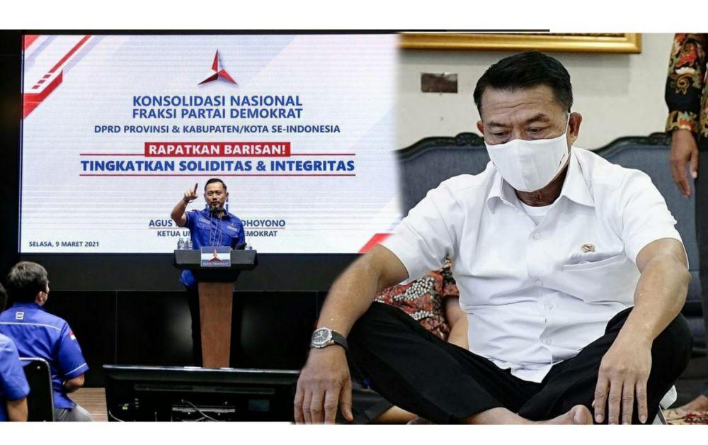 Moeldoko 'menghilang' pasca-KLB. Sementara AHY sibuk tampil di atas mimbar mempertahankan kepemimpinannya.