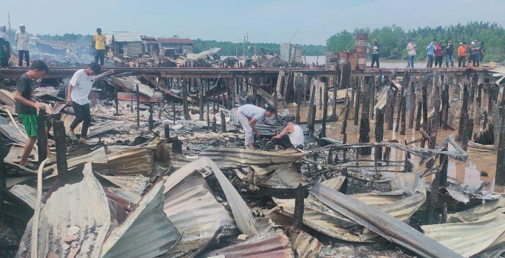 Pasca musibah kebakaran di Desa Mendahara Tengah, Kecamatan Mendahara, Kabupaten Tanjabtim.