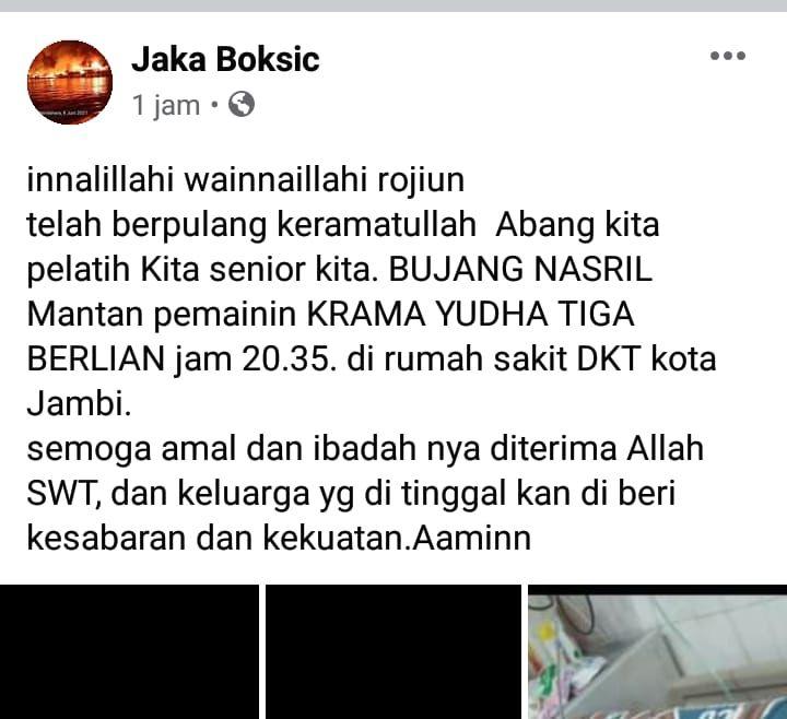 Legenda Sepakbola Jambi Bujang Nasril Berpulang.